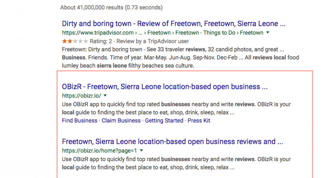 "search result screenshot for ""sierra leone local business reviews"""