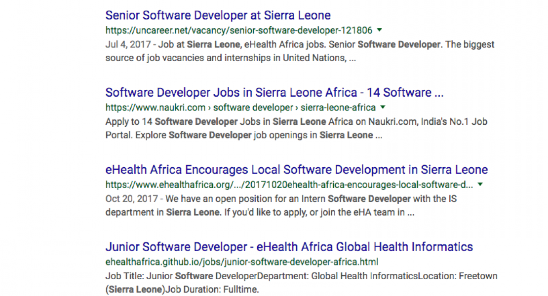 "search result screenshot for ""software developers in sierra leone"""